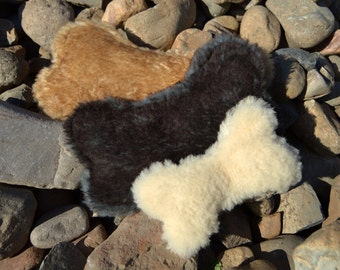 Dog Bone Toy - Stuffing Free - Real Sheepskin - Durable - by Primal Puppy