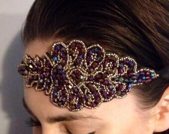 1920s Flapper Headband Art Deco style Beaded Gatsby hairband