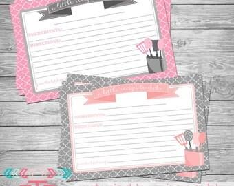 Recipe Card, Printable Recipe Card, Instant Download, Kitchen Decor, Customizable Recipe Card,  4x6 Recipe Cards, Bridal Shower Invitation,