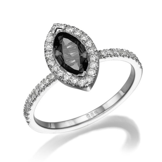 Black Diamond Ring 14K White Gold Ring Cushion Halo Ring