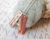 Handstamped Personalized Copper Metal Name Tags Necklace on a Sterling Silver Necklace, Handmade