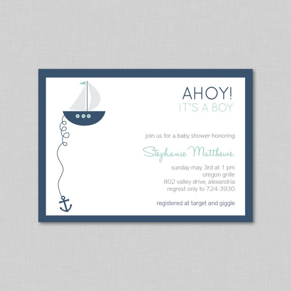 shower baby shower invitation baby boy shower invitation ahoy its a