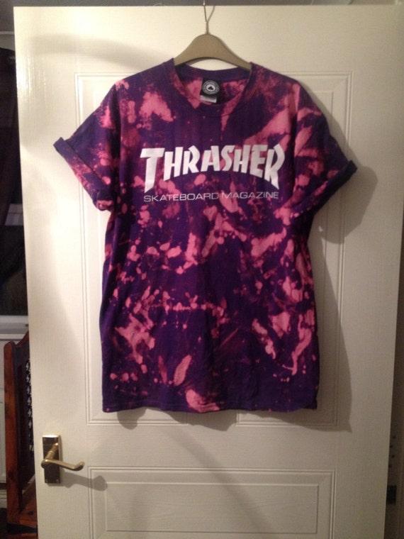 unisex customised acid wash tie dye thrasher t shirt sz large festival  fashion ibiza 02ab0fb1fe6f
