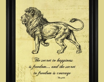 Lion Art Print, Courageous Lion Poster, Black and White Lion Illustration, Thucydides Courage Quote