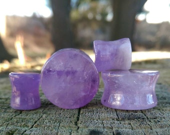Amethyst Stone Plugs (Select Your Size)