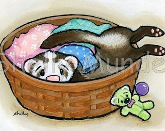 """Art by Shelly Mundel. Ferret People Collection """"Belly Flop"""""""