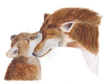 Wildlife Art Print, Fox Watercolor Art, Mom and Baby Fox, Fox Art, Large Animal Art, Fox Decor, Animal Art, Woodland - 13x19
