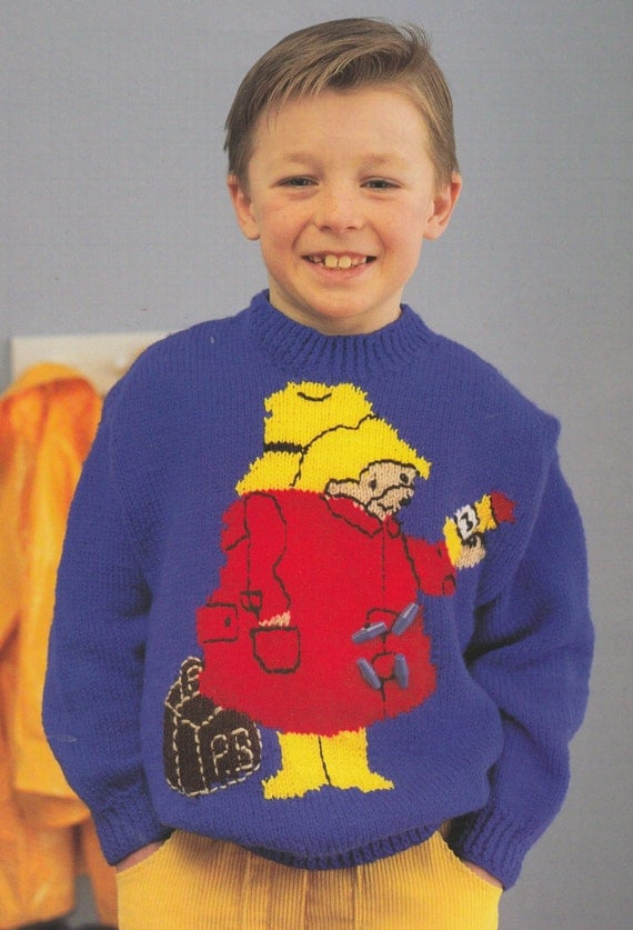 paddington bear jumper knitting pattern PDF vintage instarsia