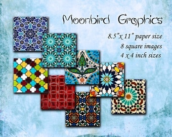 Arabic ornament images – 8 Square Art Images Digital Collage Sheet – 4 x 4 inches -  Printable Download for making coasters and cards