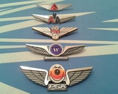 Airplane Party Favors (Vintage Airline Wings Pins FIVE Packs)  -- Ships Free (USA) --