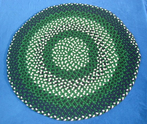 Hand Braided Round Wool Rug Green Tan Navy Blue And Black