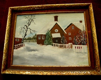 American Primitive Folk Art Winter - Framed Vintage Snowscape Landscape Naive Oil On Canvas Board Painting - signed dated on the back side