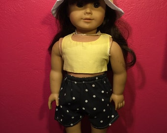 18 inch american girl doll black and white dotted shorts