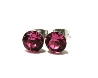Surgical Steel Rose Stud Earrings made with Swarovski Crystal Elements by LadyCJewellery
