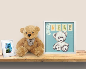 Teddy bear wall art - baby nursery decor - nursery wall art - children wall art - kids teddy bear - blue room