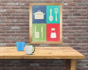 kitchen art print, cooking decor, kitchen decor art print colors