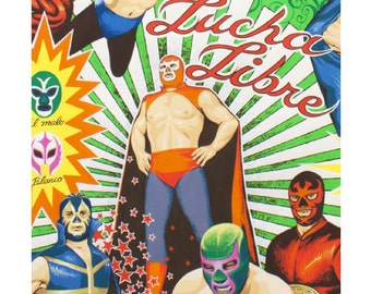 Super Lucha Libre in Natural by  Alexander Henry Fabric