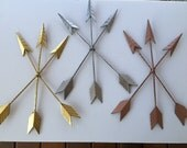 Arrows wall decor, Tribal metal, distressed in Gold