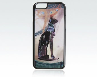 Cat iPhone 6 case,  blue flowers iPhone 6s cover, floral, unique iPhone 6, 6s cover, animal, cool, art