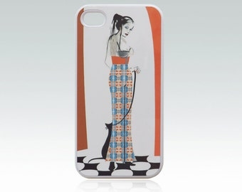 Girl iPhone 4 case, iPhone 4s case, cat iPhone 4 cover, iPhone 4s cover