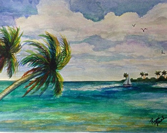 "This is a print of my original watercolor painting titled ""Tropical Escape"".  in 5 x 7, 8 x 10, 11 x 14,16x20, wrapped canvas,  note cards"