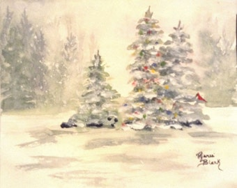 """This is a print of my original watercolor painting titled""""A Forest Christmas"""". Available personalized and in 5x7,8x10,11x14,note cards"""