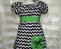 Chevron St Patrick's Day Outfit  Baby St Patrick's Dress Little Girl St Patrick's Day Dress Chevron Dress
