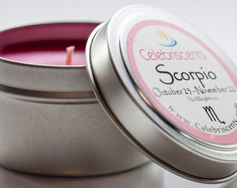 SCORPIO Zodiac Scented Soy Candle won't sting, but is as sharp as the Dragon's Blood aroma.  It's an earthy spiced musk with cedarwood.