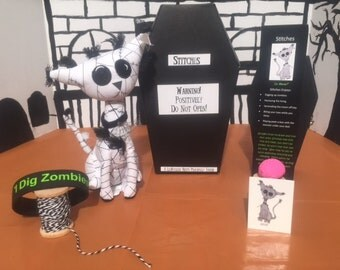Zombie Mummy Cat in Coffin- Stitches