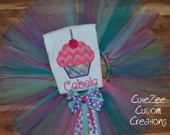 Cupcake Birthday Tutu/Onepiece/Shirt SET