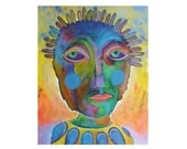 Large Outsider Art - Surreal Face Art - Folk Portrait - Art Brut - Bold Bright Colors - Face Paintings - Colourful Art -  Beatrice Artist