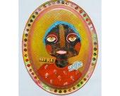 Folk Art Collage - Raw Art Originals - Unusual Paintings - Art Brut Face - Bea Roberts Artist - Quirky Original Art - Surreal Faces