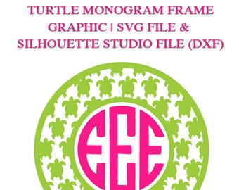 Turtle Monogram Frame File for Cutting Machines | SVG and Silhouette Studio (DXF)