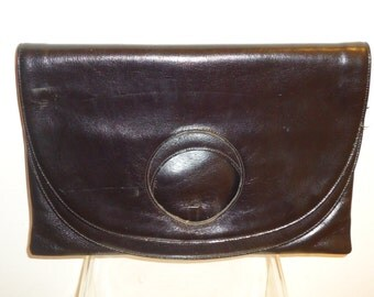 Beautiful Black Leather Vintage Clutch