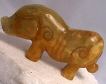 Chinese White Jade Pig Artifact Figure Stunning Ancient Hand Carved Animal Statue Amulet Talasman