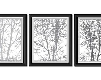 Grey Gray White Tree Wall Decor Set of 3 Tree Print Trees Abstract Art Modern Minimalist Print Tree Bathroom Bedroom Living room