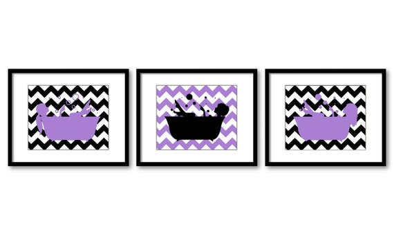 Purple black bathroom decor bathroom print girls in a bathtub Purple and black bathroom ideas