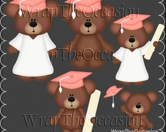 Coral/White Graduation Bears Clipart