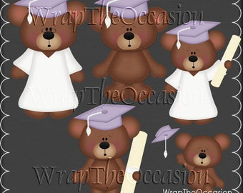 Lt Purple/White Graduation Bears Clipart