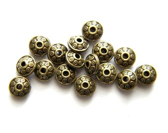 10 Bronze Disc Beads