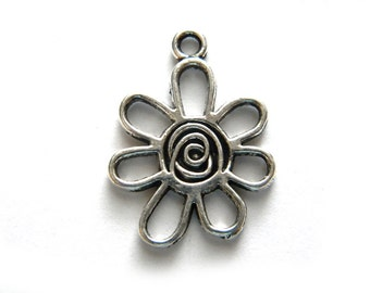 6 Silver Flower Charms - 25mm