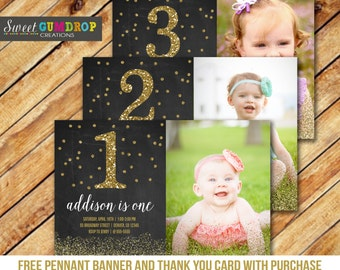 Black and Gold Birthday Invitation - Printable - FREE pennant banner and thank you card with purchase