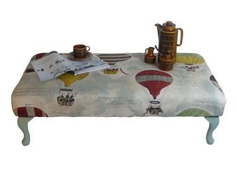 SALE !!! Foot Stool/ coffee table/ hand made/ upholstered/ hot air balloon fabric/painted/ furniture