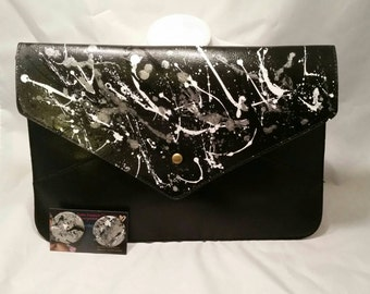 Oversized Hand Painted Clutch and Bangle Set White, Silver, Black