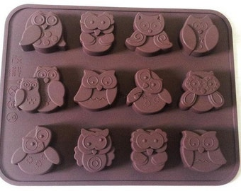 12-owl soap mold Flexible Silicone Mold polymer clay mold Cake Mold Resin Mold Biscuit Mold mould fimo mold Cookie Mold