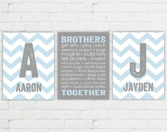 brothers bedroom art | because I have a brother | blue and gray boys room art | chevron monogram kids art | twin boys nursery decor