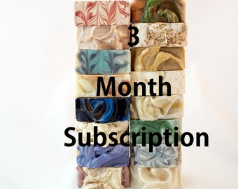 Soap of the Month Club, Three Month Subscription, handmade soap, soap club, exclusive offer