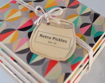 Ceramic Tile Coasters - Retro Style 032