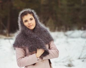 Grey downy shawl