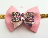 Girls Pink and Gold Leather Sparkly Bow Headband / Baby Jeweled Headband / Pink and Gold Headband / Spring Bow Hair Accessory / Pink Bow